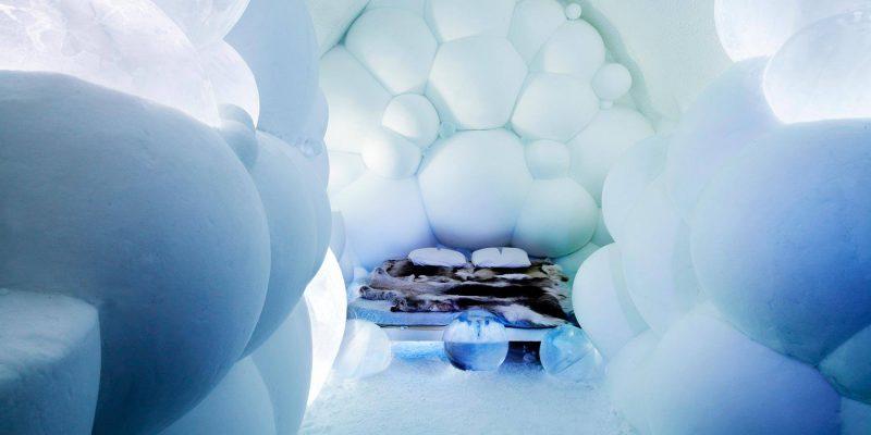 Ijskamer in het ICEhotel van Jukkasjarvi in Zweden