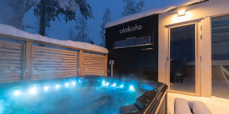 sauna en jacuzzi van Northern Lights Ranch Lapland