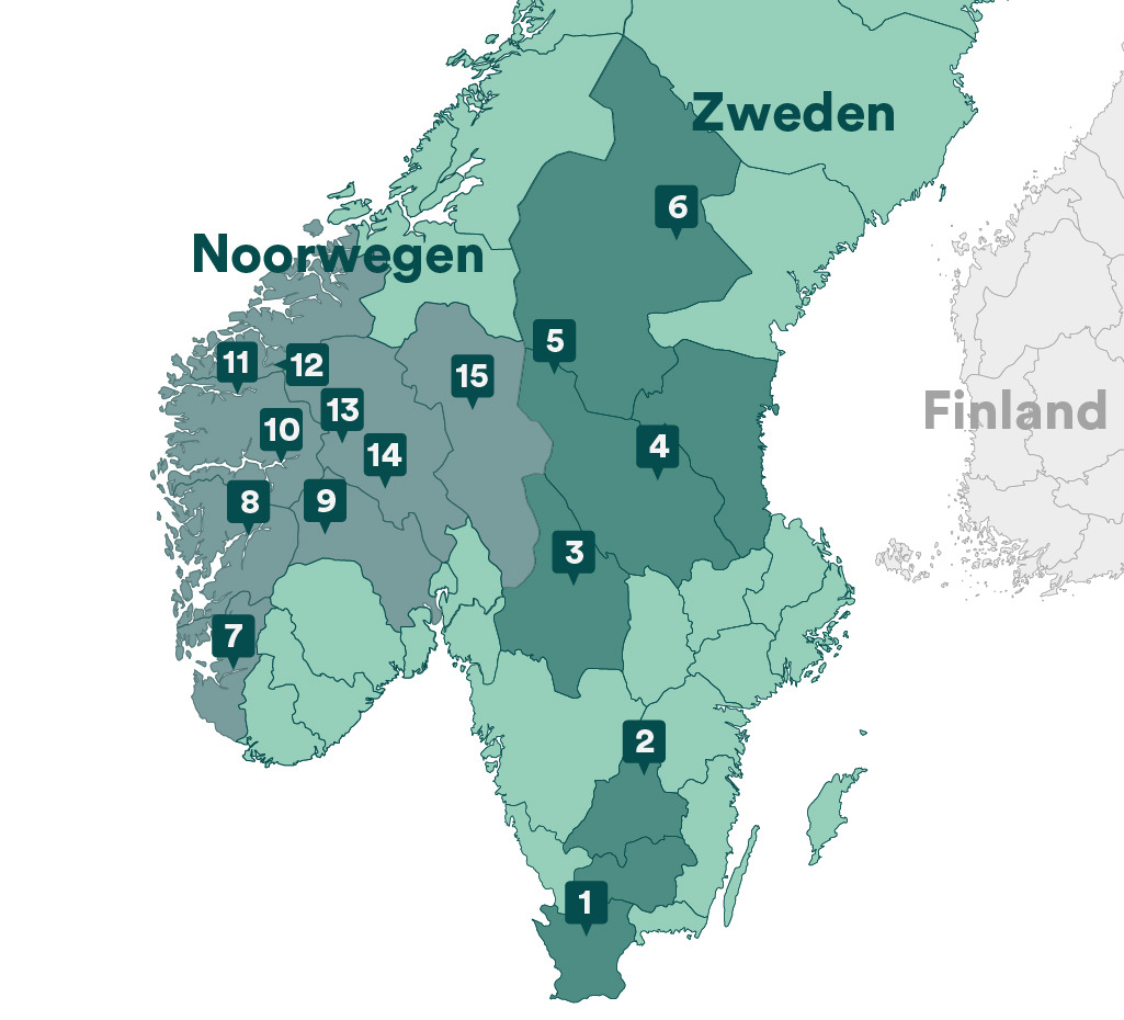 Vakantiehuizen in Scandinavie regio