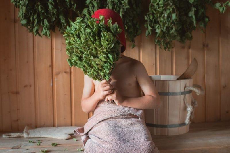 Kind in de sauna
