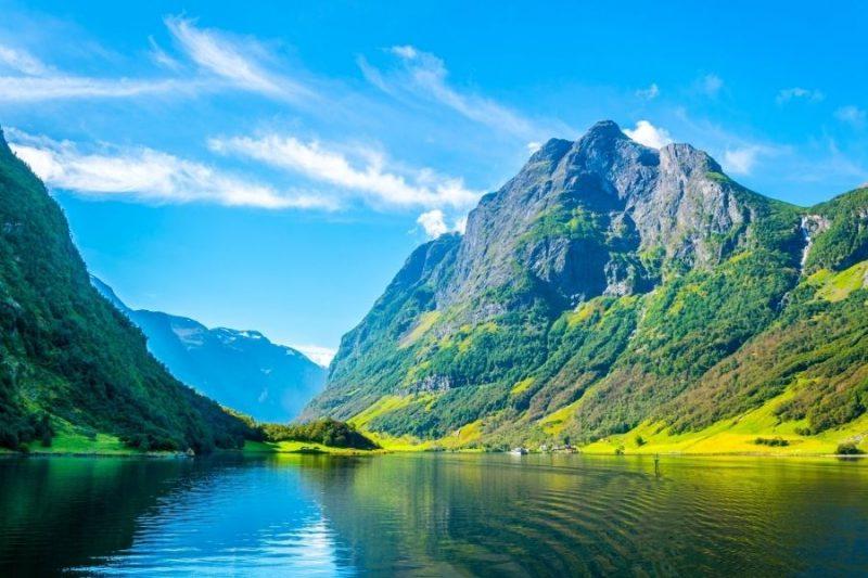 de Aurlandsfjord is een vertakking van de Sognefjord