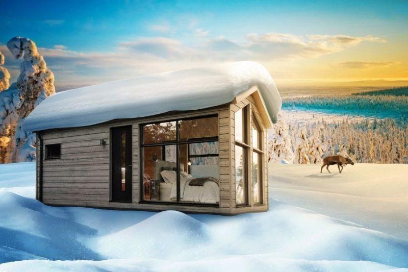 artist impression van de chalets bij de Lapland View Lodge