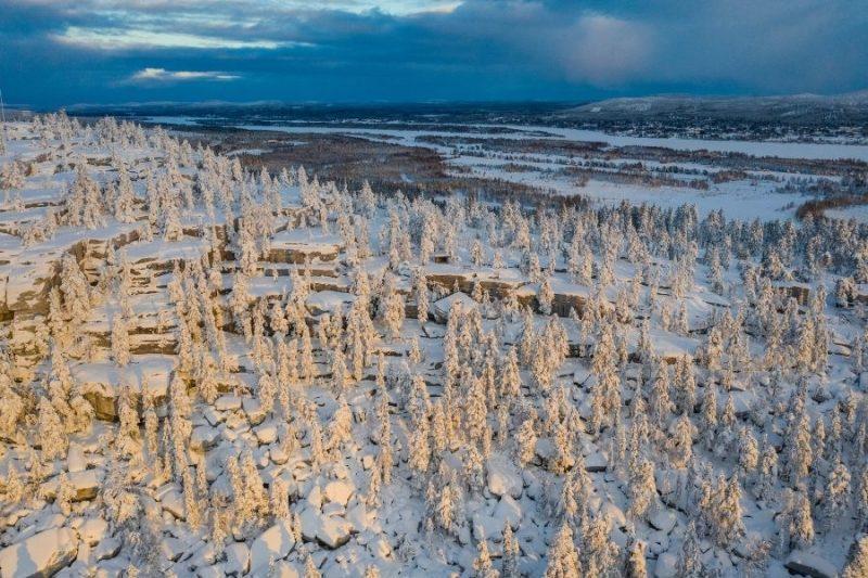 Het uitzicht op de Lapse omgeving bij de Lapland View Lodge