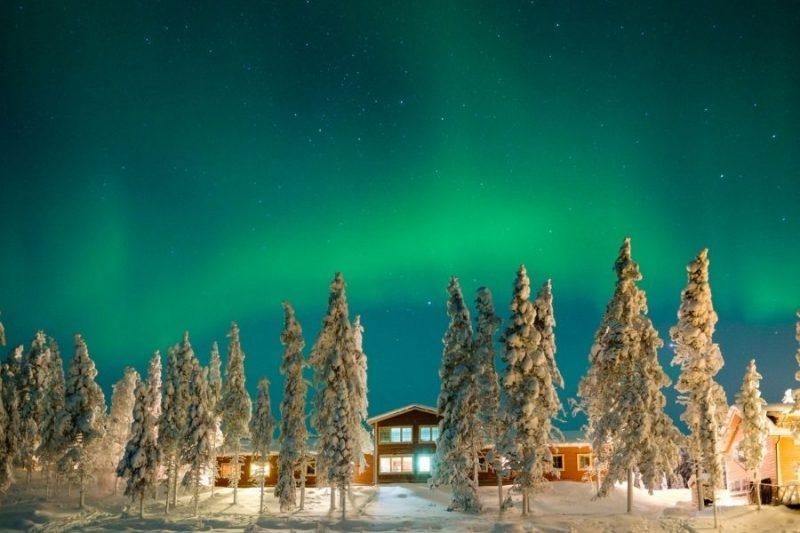 De mooiste lichtshow ter wereld vertoont zich boven de Pinetree Lodge