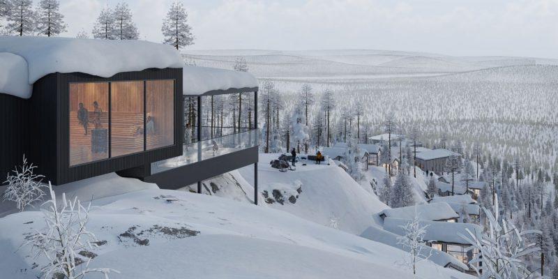 Sauna met uitzicht op de besneeuwde bergtoppen - © Explore the North