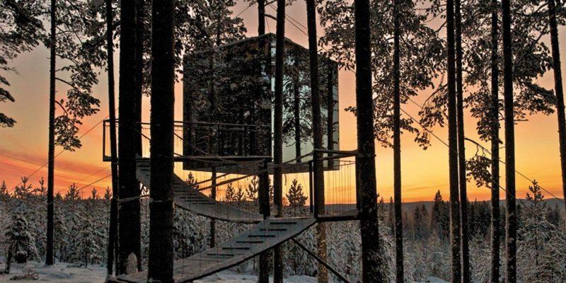 Zonsondergang bij de boomhut - treehotel - romantisch Scandinavie